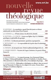 Le diaconat permanent : questions et perspectives Dans Nouvelle revue théologique 2016/4 (Tome 138)